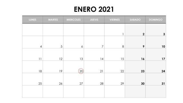 Calendario del contribuyente: ENERO 2021